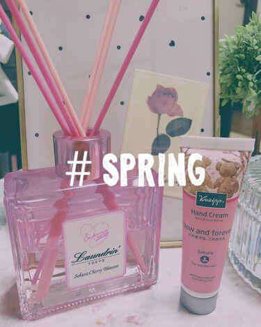 【画像付きクチコミ】Spring🌸コレクション季節の中で春が1番好き♡・ランドリンルームディフューザー春限定の香りサクラチェリーブロッサム2020チェリーとほんのりムスクの香りで癒されます😊🌸・クナイプハンドクリーム20mLサクラの香り伸びが良くてベタつ...