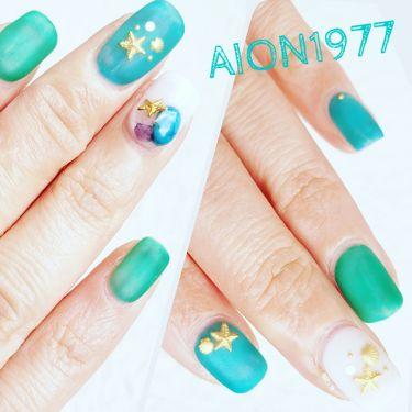 AION on LIPS 「ネイルチェンジシーグラスネイルブルーとグリーンと乳白色の3色で..」(1枚目)