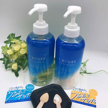 【画像付きクチコミ】L'ACURESMOOTH(ラキュアスムース)シャンプー・トリートメント✨美容師目線で髪の保水力と熱に注目されたシャンプー・トリートメント❣️▪️ラキュアスムースシャンプー透明かと思いきやボトルの中を覗くと薄い黄色。とろみあるテクスチ...