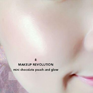 ミニチョコレートハイライター ピーチ&グロー/MAKEUP REVOLUTION/パウダーチークを使ったクチコミ(4枚目)