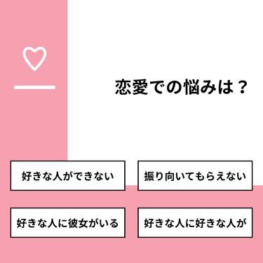 RYOUKA🐰 on LIPS 「【質問】恋愛での悩みは?【回答】・好きな人ができない:38.9..」(1枚目)