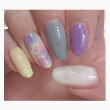 【画像付きクチコミ】【100均だけでできる✨(▭-▭)✧✨】今回のネイルはパステルカラーネイルです!6点使用の税込660円でできます。それぞれの指に色を塗って薬指だけは他の指に塗った4色とアイスオレンジをハケをしっかりしごいてから、さっさっと点置きするよ...