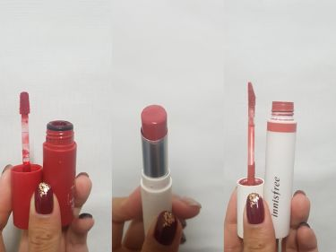 【画像付きクチコミ】Innisfreeコレクション😅🎵まず左からビビットコットンインク4号真ん中リアルフィットリップスティック12右リアルフィットマットリキッド103枚目も同じ順番で撮りました😇左のやつはかなり色持ちがいいです😆いつか赤にハマった時に買っ...
