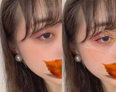 【画像付きクチコミ】『秋の一重メイク🍁』*キャンメイクパーフェクトスタイリストアイズ14番のベースを指でアイホール全体に。*マジョマジョのゴールドを目の真ん中あたりから目頭を囲むように、がっつり発色させるイメージで濃ゆく。*オレンジを今度は目の真ん中あた...