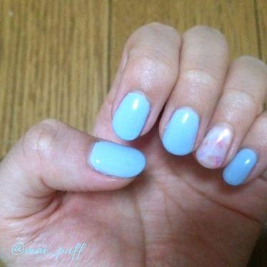 ♥まいみゃ♥ on LIPS 「今日もただただやってみたかった色のネイル!そうパステルブルーお..」(1枚目)