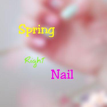 Chii  月数回投稿。.:*・゜ on LIPS 「☆春ネイルの右手が完成しました~☆。.:*・゜元々下手で汚いの..」(1枚目)
