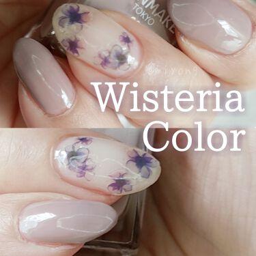 【画像付きクチコミ】🍁CANMAKEN10N29くすみパープル×シールで簡単ネイル藤色ってゆうんですかね🤔グレイッシュな淡いパープルベージュ系や、くすみ系カラーってなんか爪が綺麗に見える件。爪にお絵描きは出来ないので同系色のシールを貼って初心者でもそれな...