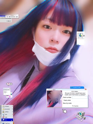 【画像付きクチコミ】毛の色を!ちょっとやってみたかった青紫×ピンクで前髪もツートン!にしました🙆♀️前にしてた青紫がまぁまぁ抜けてからgot2b4本つかって金髪!自分で塗ったので全然塗れてなかった所がありましてそちらは次の日にメガメガで色抜きました😘そ...