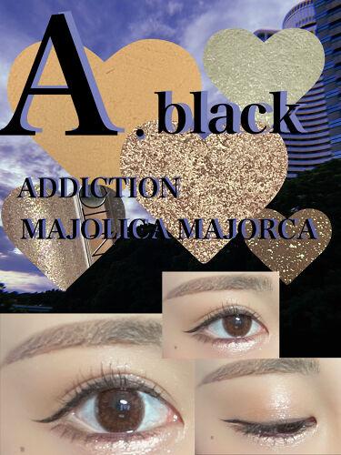 【画像付きクチコミ】本日のアイメイク💓💙💓A.BLACKメイン💓A.BLACKのこのパレットは薄いカラーがないので、MAJOLICAMAJORCAのBE121をベースに使いました💙ADDICTIONのリキッドアイシャドウ、何度か使って見て気付いたけど、や...