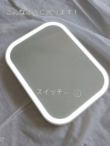 枠が光るLED付ミラー スクエア/DAISO/その他化粧小物を使ったクチコミ(3枚目)