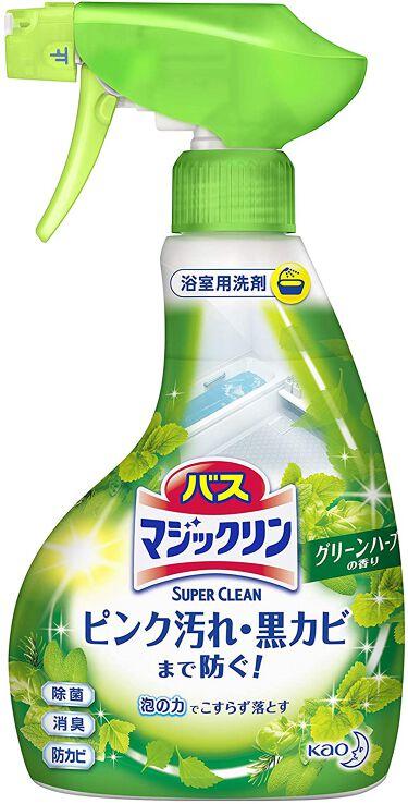 バスマジックリン泡立ちスプレー SUPER CLEAN グリーンハーブの香り 本体 380ml