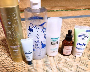 【画像付きクチコミ】今のスキンケア事情#ハトムギ美容水アルコールにすぐ反応してしまうため、ノンアルのハトムギ美容水を使ってます。基本コットンで拭き取り化粧水として使用中。#温泉美容化粧水ミストお風呂上がり1番にシュッと吹きかけ乾燥予防に使用中。ドンキで5...