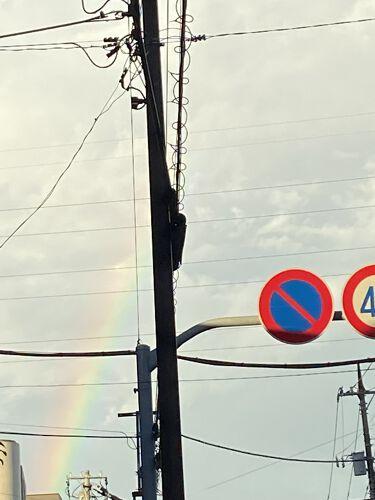 【画像付きクチコミ】おはようございます!なんとなく今朝は虹🌈のネックレスをしたくなってつけたのですが、朝いつもの日課の神社へのお詣りした帰りに虹🌈が!皆様へなんとなく楽しい気持ちのお裾分けです。メイクはラロッシュポゼとD-UPチェリーブラウンとDiorデ...