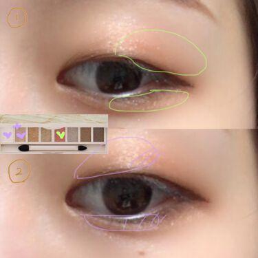 【画像付きクチコミ】ViseeリシェグラマラスモードアイパレットBR-2のパレットを使ってたった2色だけで時短のメイクです!濃い色→薄いラメの順で載せるだけで簡単グラデーションの完成✌️🍊ラブライナーはやっぱり描きやすくていい🤍一重さんは目を閉じて3枚目...