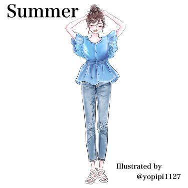 【画像付きクチコミ】Summerコーディネートデニムスタイル編デザインが甘めのシャツなのですっきりめのブルーで爽やかに。明るさをしっかり出してトーンアップしましょう!イラストは@yopipi1127さま#ファッション#イエベ #ブルベ#イエベメイク #ブ...