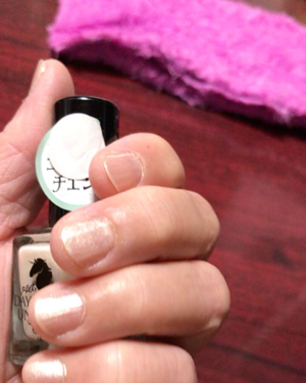 【動画付きクチコミ】TSネイルポリッシュヌーディベージュを1回塗りキャンドゥのユニカラーネイルを上から塗りました🌟😃だいぶイメージ変わりますよね🤡💙💜❤️👍