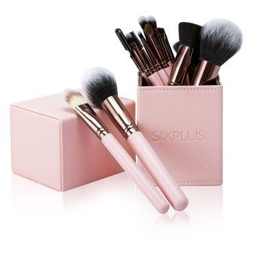 SIXPLUS ピンク色 メイクブラシ15本セット / SIXPLUS