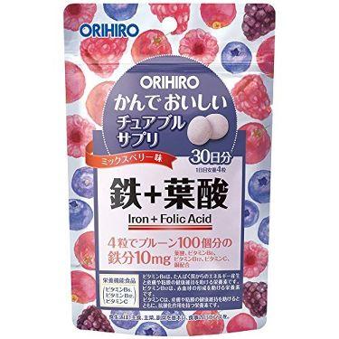かんでおいしいチュアブルサプリ 鉄+葉酸  オリヒロ