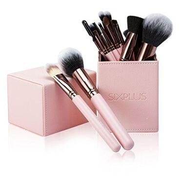 SIXPLUSロマンチックなピンク色 メイクブラシ 15本セット